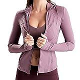 U/A Yoga Tops Chaqueta deportiva con cremallera para mujer de manga larga ajustada para yoga Rosa rosa L