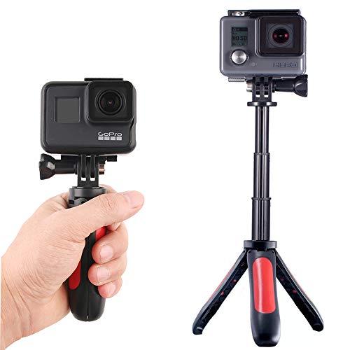 Homeet Mini Trípode para GoPro, 2-en 1 Palo Selfie con Trípode de Mesa Soporte para Cámara Deportiva Trípode Portátil Palo Extensión Ajustable para SJCAM/Akaso/YI 4K/ Apeman y etc (Rojo)