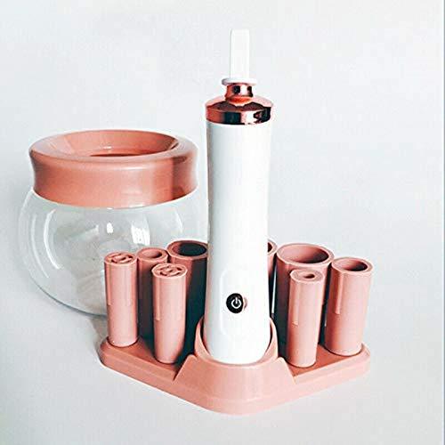 Make-Up Pinsel Reiniger & Trockner, Rosa Elektrische Pinselreiniger Set, Automatische Kosmetikpinsel Waschwerkzeuge mit 8 Gummikragen, Geeignet für die Meisten Make-up-Pinsel