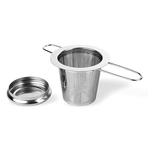Schramm® Roestvrij stalen theezeef met deksel Lekbakje Theefilter ideaal voor losse thee Geschikt voor kopje en potje
