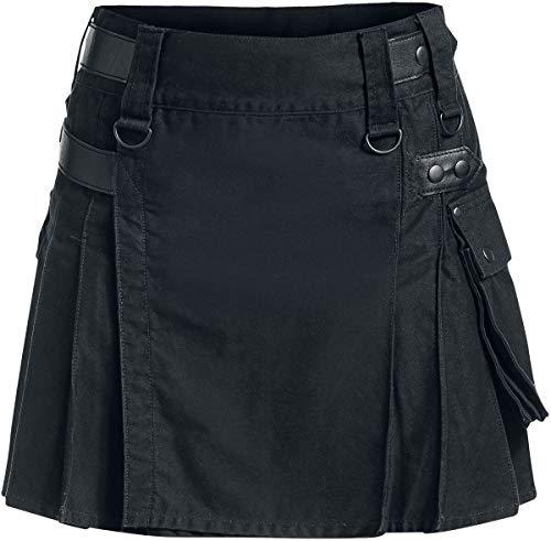 Black Premium by EMP Kilt Femme Jupe Courte Noir XL, 100% Coton,