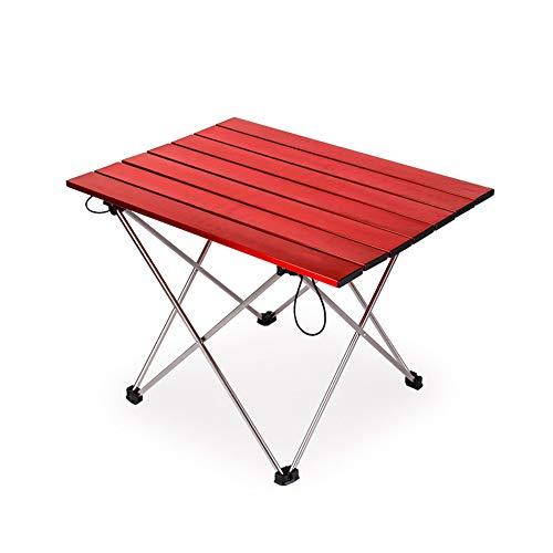 Outdoor Portable Seite Camping Picknick Kaffee Klapptisch mit Aluminium Tischplatte für Essen & Camping Kochen Ausrüstung Einfach Zu Reinigen,Red
