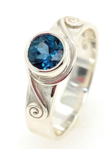 Sterling Silver Celtic Spiral Ring with London Blue Topaz Stone Set (M)