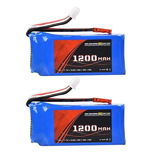 Dilwe 2Pcs 7.4V 1200mAh RC LiPo Batería, 30C JST Plug Batería Recargable LiPo RC Actualización Accesorios de Repuesto para RC Coche / Avión / Barco