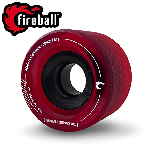 Fireball Tinder 81a Durometer Skateboard & Longboard Wheels (Red | Set of 4 | 60mm, 81a Durometer)