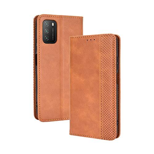 LAGUI Kompatible für Xiaomi Poco M3 Hülle, Leder Flip Hülle Schutzhülle für Handy mit Kartenfach Stand & Magnet Funktion als Brieftasche, braun