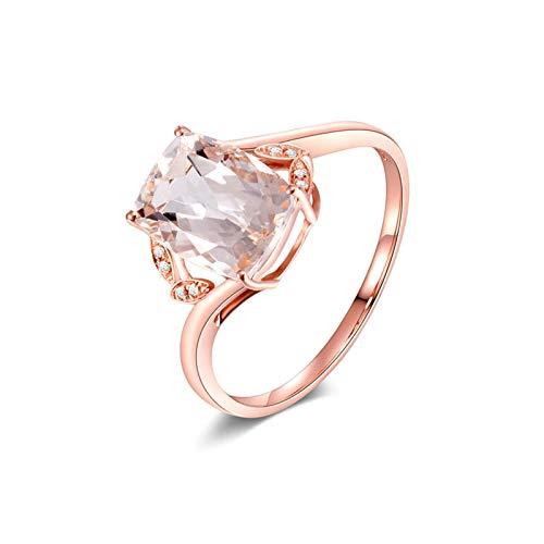 AueDsa Ring Rosegold 18 Karat (750) Rotgold Damen Ring Rechteck Morganite Pink Claro Weiß 1.95ct Größe 62 (19.7)