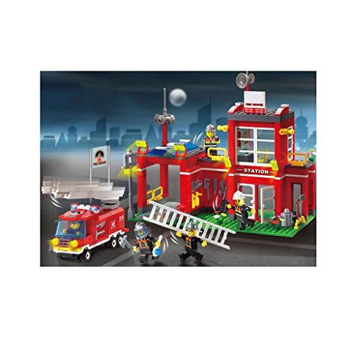 Station de pompiers de la ville, jouets pour enfants de 4, 5, 6 ans et plus, Apprentissage du jeu de construction pédagogique pour garçons et filles, 1 bâtiment de caserne de pompiers, 1 camion de pom
