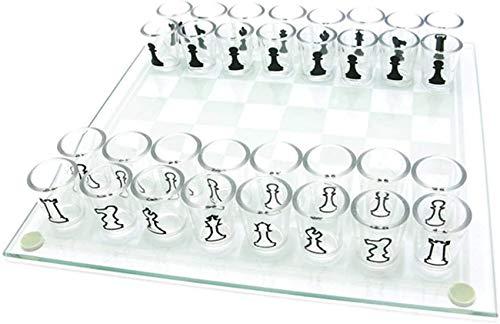 CCLLA Juegos de Tablero de ajedrez de Cristal de chupito para Adultos, Juego de ajedrez para Beber con Tablero de 32 chupitos y Cristal, Juego de chupito de Damas, para cumpleaños, día del Padre y