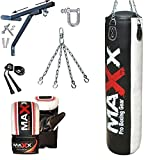 Maxx 5Pcs set, 5FT BLACKg Heavy Filled Punch bag, punching bag, boxing bag with WALL BRACKET WITH FREE CHAIN