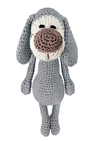LOOP BABY - gehäkelter Hund Hansi in grau - gehäkeltes Kuscheltier für Baby/Mädchen/Junge aus Baumwolle