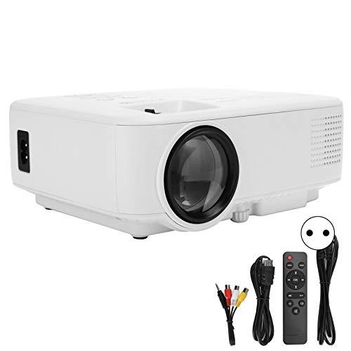 Jopwkuin Proyector de Cine, Full HD a 60 Hz Puertos HDMI AV USB y para Tarjeta de Memoria Proyector portátil con Mando a Distancia para la Sala de Estar del Dormitorio(Enchufe DE LA UE)