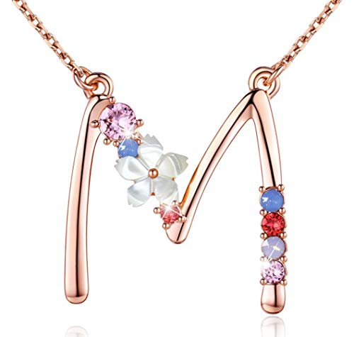 Flower Initial Necklace Amethyst Pink Ruby Red Opal Blue Simulated Pearl Pendant Name Jewelry Made with Swarovski Crystals Rose Gold Plated Anniversary Birthday Gifts for Women Girl,18'+2' Multicolor