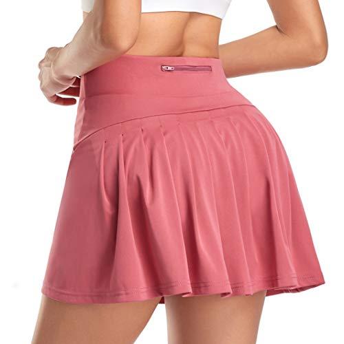 WOWENY Mujer Deportivo Corto Falda Plisada A-Line Mini Skorts de Tenis Golf con Bolsillos Interiores para Shorts,Vestido de Playa para Mujer (Z-Rosa, M)