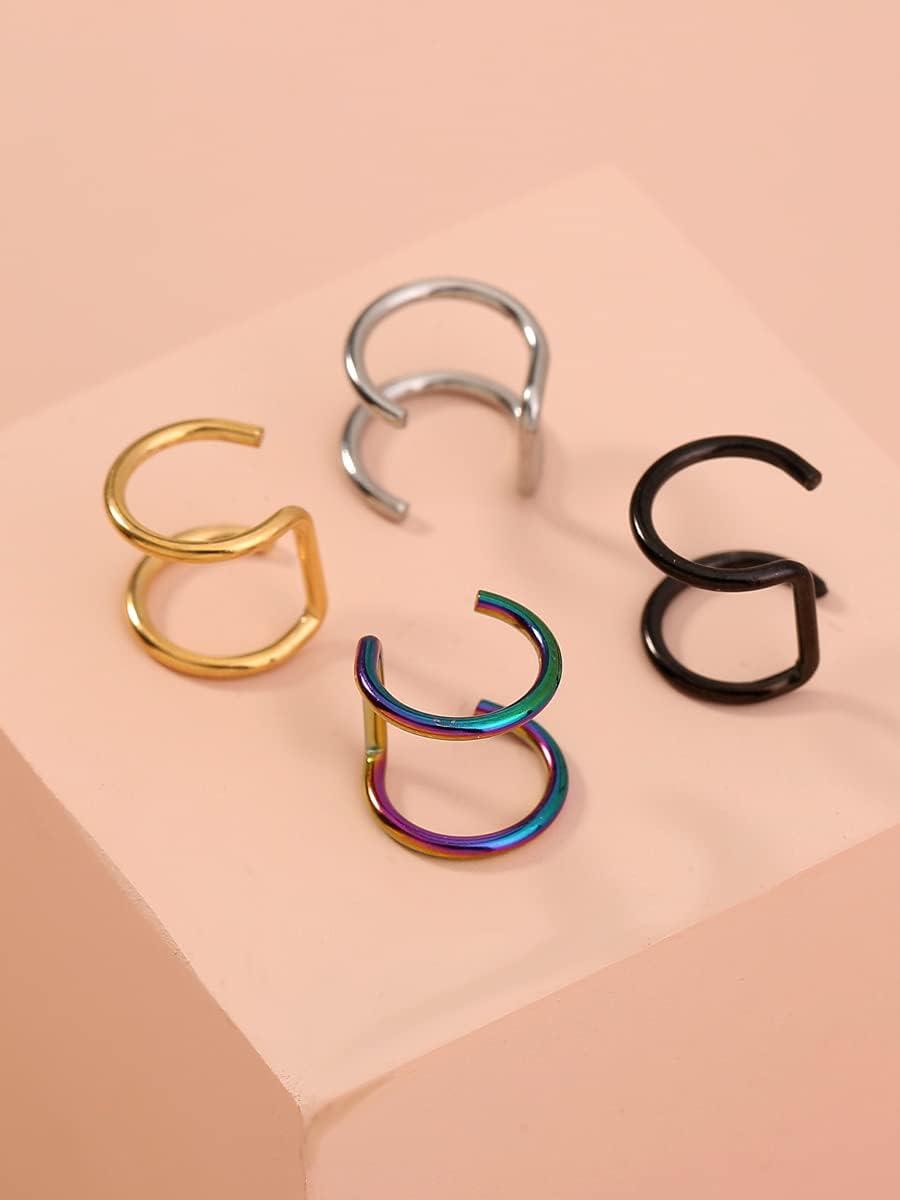ANBF Hoop Earrings 4pcs Minimalist Ear Cuff (Color : Multicolor)