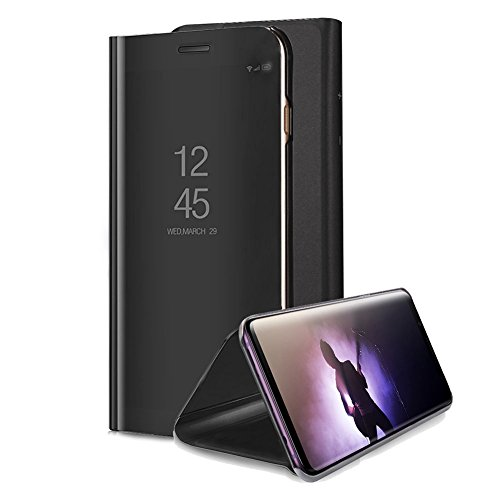 for Samsung Galaxy Note 8 Mirror Case, Aearl Plating PC Smart Clear View Window Vertical Flip Stand Cover Full Body Protective Shell with Screen Protector Kickstand for Samsung Galaxy Note 8 - Black