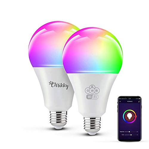 Chrikky 2x Alexa Wifi Bombillas de luz inteligente Dimmable Smart Led 10W 1055Lm E27 bombillas led compatibles con Alexa Smart Life Google Home Luces de colores 2 bombillas alexa bombillas inteligente