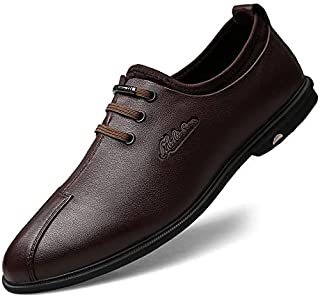 FYKHhcF Men's Business Fashion Casual Shoes lace-up Soft-Vamp Round-Toe Shoes