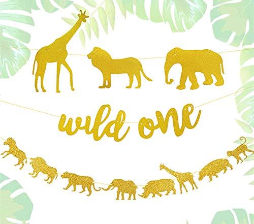 JeVenis Set of 2 Glitter Wild One Banner Jungle Safari Theme Banner Safari Birthday Decoration Safari Party Sign Wild Things Birthday Decorations Safari Birthday Party Signs