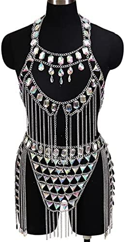 Lysee Body Jewelry - Gold Sequin Halter Fringed Vest Necklace Slave Harness Bohemia Style Body Chain Bra for Women Bikini Beach Club Punk Gothic Rave