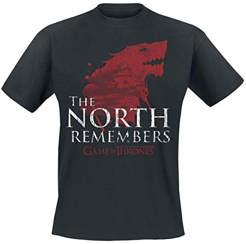 Game Of Thrones Juego de Tronos House Stark - The North Remembers Hombre Camiseta Negro, Vintage Regular