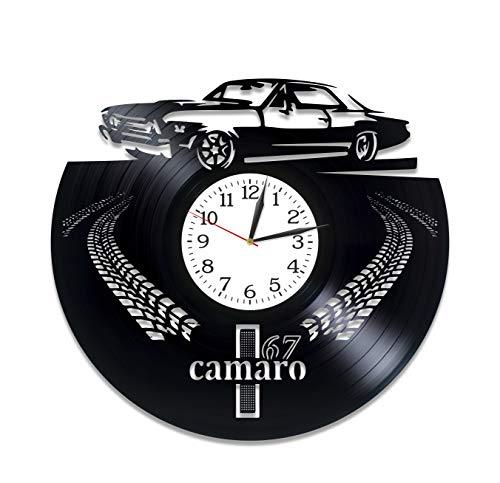 Kovides Chevrolet Camaro Room Art LP Vinyl Retro Schallplatte Wanduhr Exklusives Auto Geschenk Geburtstag Geschenk für Ihn Camaro Uhr Weihnachten Geschenk Idee Auto Kunst Chevrolet Wanduhr