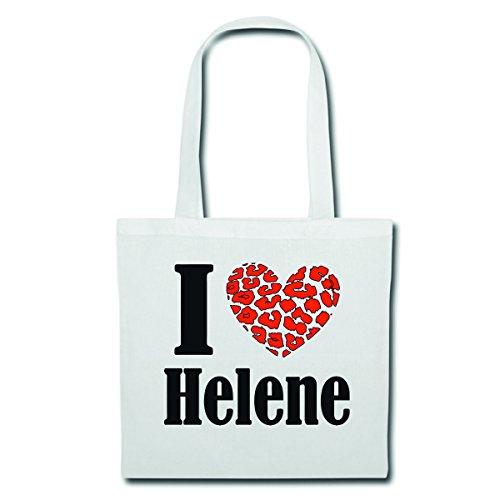Tasche Umhängetasche I Love Helene Einkaufstasche 38x42cm Höhe 70 mit Tragegurt 70cm in Weiß Schulbeutel Turnbeutel #Jutebeute #Rucksack #Beutel #Handgepäck #Reisegepäck