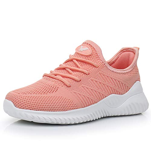 JARLIF Women's Memory Foam Slip On Walking Tennis Shoes Lightweight Gym Jogging Sports Athletic Running Sneakers Peach 9.5 B(M) US