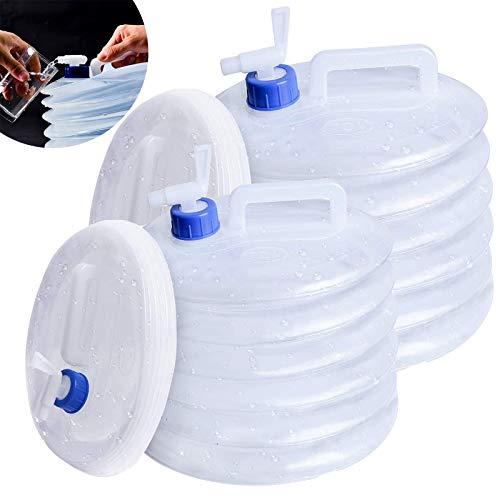 2 Piezas Bidon Agua PortáTil Plegable Tanque Agua Camping Plegable Agua Portador Tanques Portátil Plegable Agua portadora con Grifo para Camping Senderismo Escalada Picnic Viajes Al Aire Libre 5L/8L