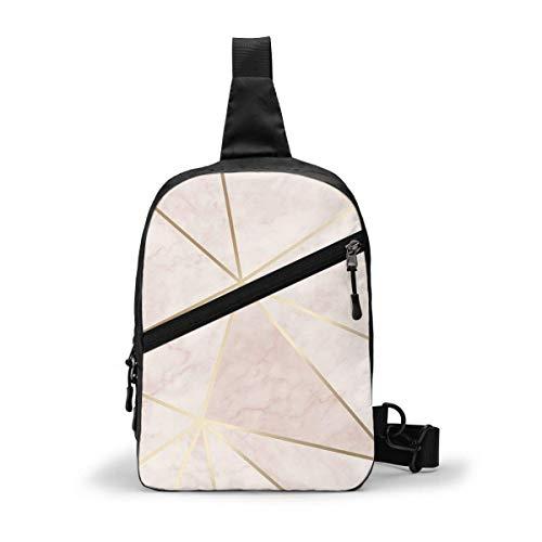 GIERTER Zara Shimmer Metallic Soft Pink Gold Brustpaket Mehrzweck-Crossbody Outdoor Schultertasche Daypack Sling Rucksack Große Kapazität Casual Sport Rucksack für Wandern Reisen Sport