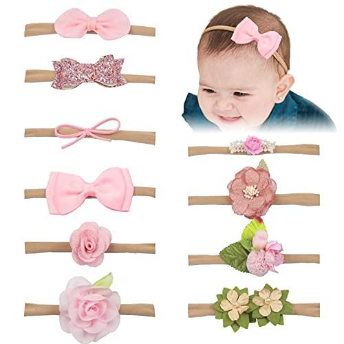 10 Stück Baby Haarband,baby haarband blumen elastsichem,Baby Mädchen stirnband haarbänder,kinder haarband blumen,Baby Stirnband,Baby Stirnbänder,eugeborenen Headwrap,Babyschmuck