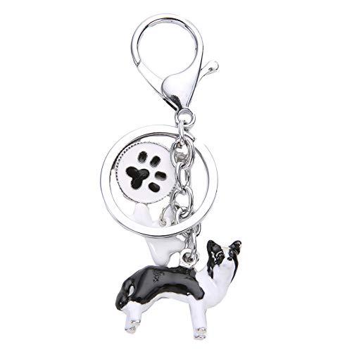 BbearT® Llavero de identificación de perro, bonito llavero de cerámica estéreo de metal para perro con etiquetas de identificación de perro (Border Collie)
