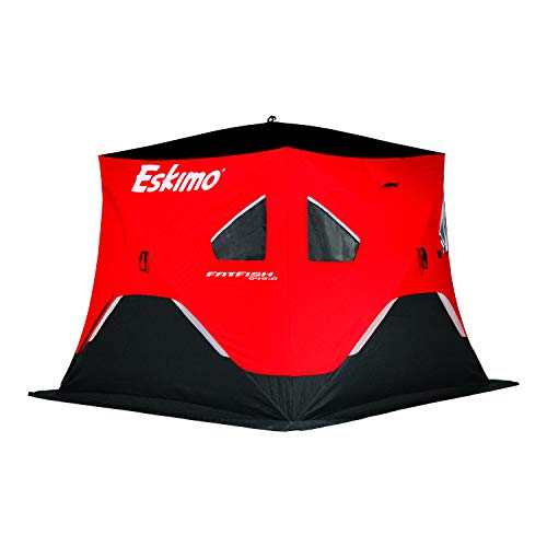 Eskimo FF949iG FatFish Pop-up Portable Hub-Style Ice Shelter, Wide Bottom Design 61 sq ft. Fishable Area, 3-4 Person Insulated Gray Interior, Red, 99