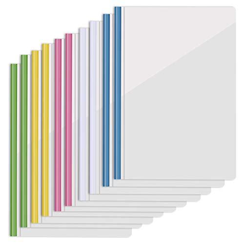 Barras correderas Repor 10 fundas para informes deslizantes, multicolor, para oficina, escuela, presentaciones de currículum de papel A4
