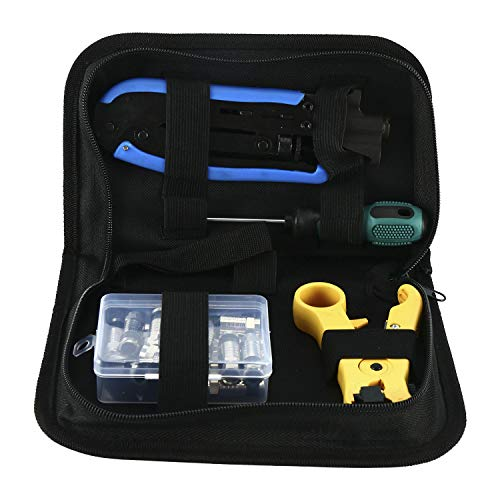 YaeTek Compression Tool Coax Cable Crimper Kit, Adjustable RG6 RG59 RG11 75-5 75-7 Coaxial Cable Stripper with 20 PCS F Compression Connectors