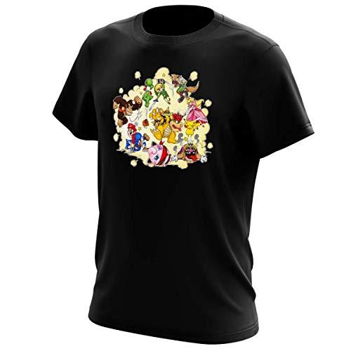 T-Shirt Noir Super Smash Bros parodique Mario, Link, Fox, Bowser, Pikachu et Wario : Baston Générale à la Sauce gauloise (Parodie Super Smash Bros)