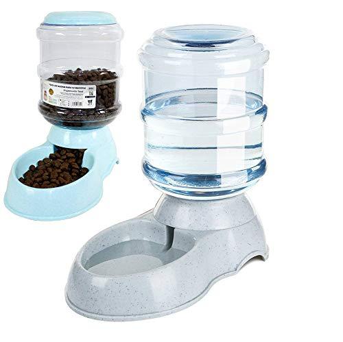 DZL- Dispensador de Agua Automático para Mascotas de Gatos/Perros 3.5L x 2 Piezas Dispensador Comida y Agua de Perros (Bebedero+Comedero)
