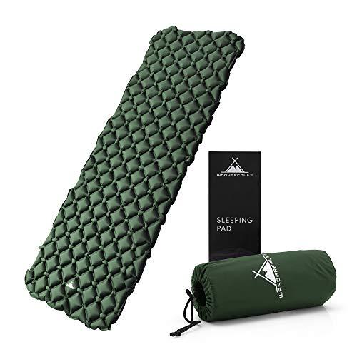 WANDERFALKE Camping Isomatte (XL-Breite) 190 x 66 x 6 cm - Luftmatratze Camping - ultraleichte Isomatte für Outdoor, Camping, Wandern, Reise (grün)