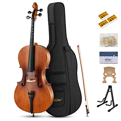 Eastar EVC-1 4/4 Acoustic Cello Matt Natural Varnish with Imprinted Finger Guide on Fingerboard for...