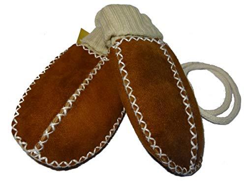 Baby-Lammfell-Handschuhe / - Fäustel mit Strickbündchen, camel - naturfarben