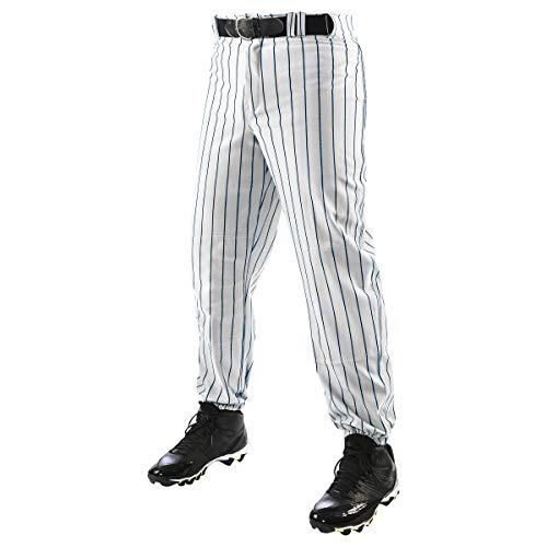 Champro Baseballhose für Jungen, mit DREI Kronen, Nadelstreifen, Polyester, Baseball-Hose mit DREI Kronen, Nadelstreifen, Polyester Gr. 36-41, Weiß, Marineblau.