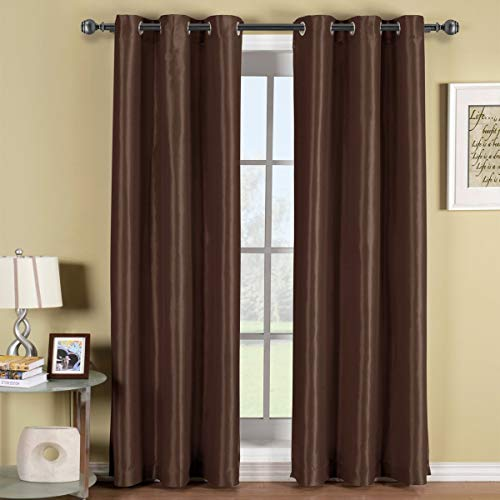 Soho Chocolate-Brown Grommet Blackout Window Curtain Panel, Solid Pattern, 42x63 inches