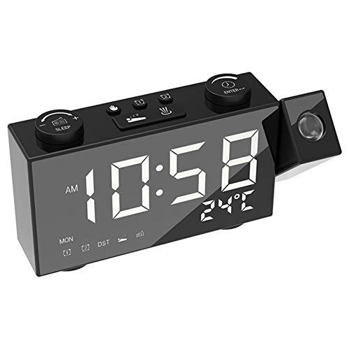 SASCD Reloj de proyección Reloj de Alarma Digital con Soporte de función Termómetro 87.5-108 MHz Radio FM USB/batery Mesa de alimentación LED Reloj (Color : White)