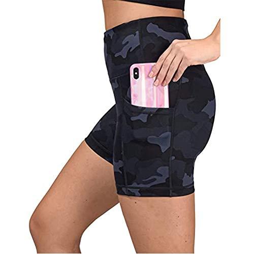 Entrenamiento de Las Mujeres de Cintura Alta Deportes Corto Pantalones Cortos for Correr Yoga de la Aptitud Polainas Femeninas con Bolsillo Lateral Gimnasia (Color : Navy, Size : S)