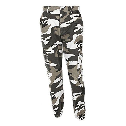 Mambain Pantaloni Donna Militari Jeans Pantaloni Ragazza Sportivi Estivi Vita Alta Larghi Taglie Forti Eleganti Pantaloni Donna Mimetica con Tasconi Hip Hop Punk Rock (S, Grigio)