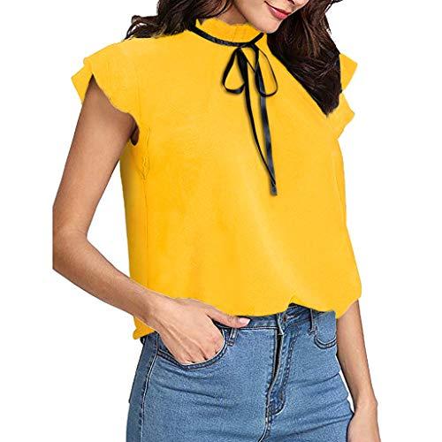 Damen T Shirt, CixNy Lässige Mütze Krawatte Bluse Damen Einfarbig Chiffon Kurzarm Sommer Elegant Vintage Oberteil Tops