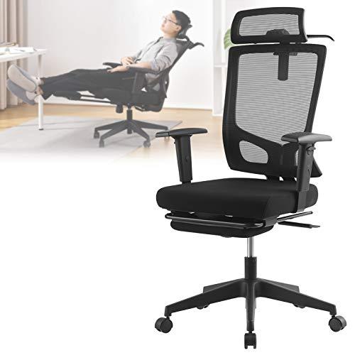 オフィスチェア デスクチェア 事務椅子 パソコンチェア 人間工学椅子 社長椅子 ハイバックデスクチェア 130度リクライニングチェア 調節可能 ヘッドレスト及びオットマン付き 腰サポー 黒