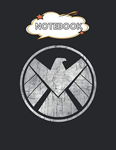 Notebook: Marvel Agents Of Shield Grungy Logo Vintage Blank Comic Notebook for Kids Marble Size Blank Journal Composition Blank Pages Rule College ... of 8.5'x11' for Drawing Sketching Doodling