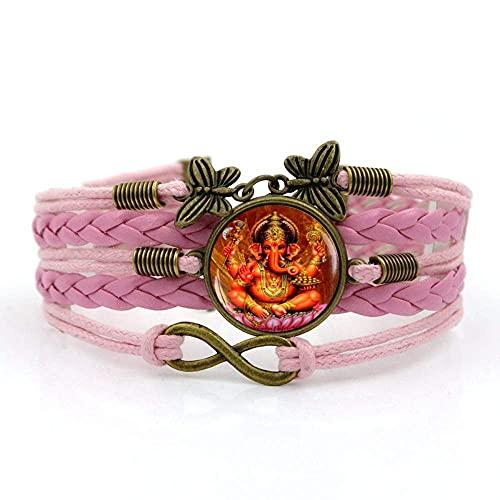 Pulsera tejida, cuerda rosa, Elefante nacional indio, Animal, Tiempo Pulsera de piedras preciosas Multi-capa Combinación de vidrio de tejido de vidrio Moda Moda Moda de estilo europeo y americano Joye