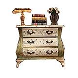 Armario de Almacenamiento Gaveta For La Consola Gabinete Americana De Madera Maciza Mueble Antiguo Pintó Tres (Color : Yellow, Size : 81x41x70cm)